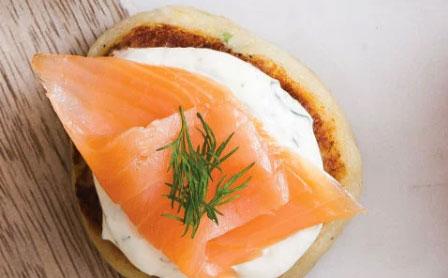 Organic Smoked Salmon on Potato Cakes with Natural Yoghurt